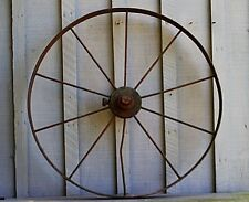 Old Vintage Antique Primitive Steel Spoke Wagon Cart Implement Wheel Farm Decr a
