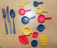 Vintage 12 Pc Child's Toy Plastic Pot & Pans plus 1 Metal Knife Fork Spoon Set