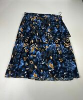 BNWT WOMENS MARKS&SPENCER SIZE UK 16 BLUE MIX CASUAL KNEE LENGTH A LINE SKIRT
