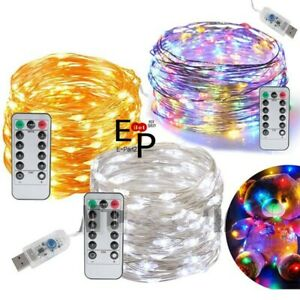 USB Twinkle LED String Fairy Lights Copper Wire Party Remote 5-20M 50/100/200LED