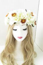 Large Cream Brown Rose Daisy Flower Hair Crown Garland Festival Headband Big 155