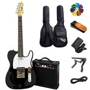 Full Size Electric Guitar 20W Amp Case and Accessories Pack Black Beginner Set