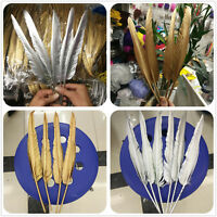 Wholesale 10-500pcs Gold/Silver 30-35cm/12-14inches Two-Sided Turkey feathers