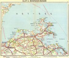 La Germania. Rostock Rügen 1936 Vecchio Vintage Mappa piano Grafico