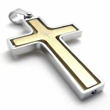 Men's 316L Stainless Steel Pendant Necklace Rotating Bible Cross Gold