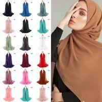 Women Plain Bubble Chiffon Hijab Islamic Muslim Turban Scarf Shawls Colors hi