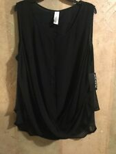NWT Pure Energy Women's Blouse plus size 3X Black Sleeveless Layered Dress Top