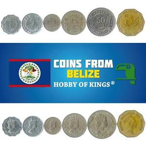 SET OF 6 COINS FROM BELIZE. 1973 - 2018. 1, 5, 10, 20, 50 OLD CENTS AND 1 DOLLAR