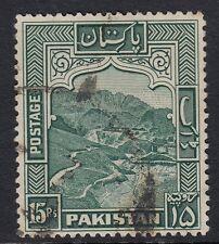 Pakistan 1957 KGVI 15r blue-green (p13)  fine used. SG 42b. Sc 42.