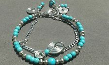 Handmade Natural Blue Turquoise Gemstone Silver Wire Wrapped Bracelet and charms