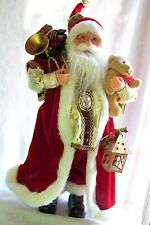 """NEW! Christmas,Collectible,SANTA,Gifts,Bear,Lantern,Red,Gold,Figurine,18"""" WINDY"""