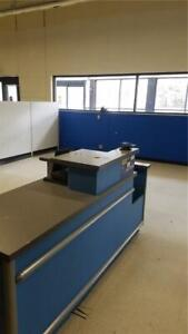Checkout Counter Blue Used Store Fixtures Equipment w/ Computer Customer Service