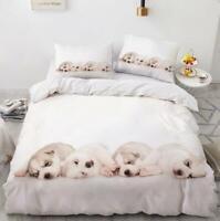 3D White Puppies ZHUA839 Bed Pillowcases Quilt Duvet Cover Set Queen King Zoe