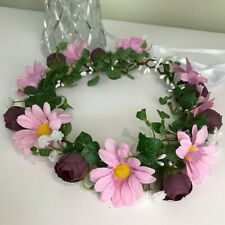 Flower Halo Flower Crown - Pink Daisy, Baby's breath and wine flowers