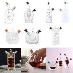 2-Outlet Glass Olive Oil Jar Vinegar Bottle Pot Kitchen Sauce Dispenser