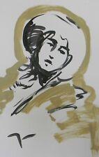 "JOSE TRUJILLO Large Acrylic Painting New Art 26x40"" Gold Tan Woman Portrait"