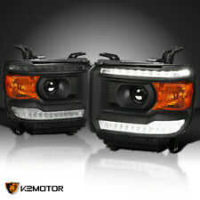 For Black 2014-2018 Gmc Sierra 1500 Projector Headlights w/Led Drl Daytime Light (Fits: Gmc)
