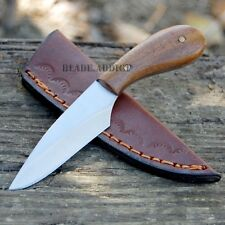 "4.5"" Mountain Man Full Tang Drop Blade Trade Patch Knife Leather Sheath Camping"