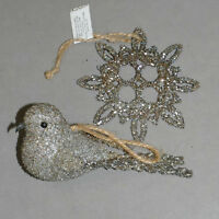Christmas Ornament GERMAN GLASS GLITTER Beaded Silver Tone + Bird Snowflake Lot