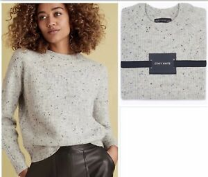 M&S Ribbed Crew Neck Cosy Knits Jumper Grey  XLARGE