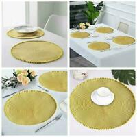Set Of 4 Table Place Mat Blush Grey Ochre Yellow Round Pom Placemats Pom O8F3