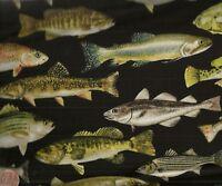 Catch of the Day fish black Benartex fabric