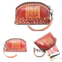 IXYVIA Genuine Leather Wallet Handmade Money Coin Purse Brown