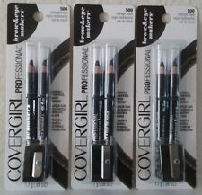 3 CoverGirl Professional Brow & Eye Makers Pencil Midnight Black 500