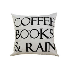 Throw Pillow Case Decorative Cushion Cover Coffee Books and Rain Throw Covers