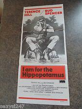 I AM FOR THE HIPPOPOTAMUS ORIGINAL DAYBILL POSTER 1979 Terence Hill Bud Spencer