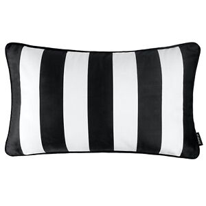"Striped Rectangle Cushion Black and White Monochrome Stripes Cover Sofa 12 x 20"""
