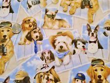 Rare ELIZABETH'S STUDIO Petpourri Postcard Dogs fabric 1 yd quilting lab yorkie