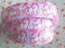 1 M x Lindo Bebé cósmico Unicornio Cinta del Grosgrain Artesanía Cabello Moño Pastel 25 mm Reino Unido