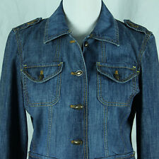 Liz Claiborne Denim Jacket Size Medium 8 10 Blue Jean Blazer Cotton Buttons Coat