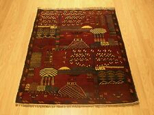 3 x 4 Handmade Pictorial Veggie Dye Wool Afghan Baluchi Rug _Excellent Condition