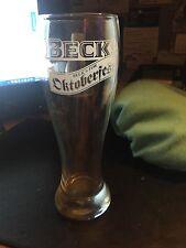 "Becks Beer- BECK'S FOR OCTOBERFEST pilsner glass RARE  TALL  9"""