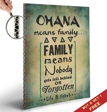 OHANA MEANS FAMILY * LILO AND STITCH Typographic Quote Art * Great Gift Idea *A4