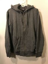 STUSSY All Over Peace & Money Logo Full Zip Hoodie Sweatshirt Gray Mens Large L
