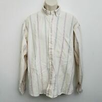 Gant Salty Dog Shirt Large Brown Blue Striped Button Up Long Sleeve