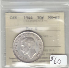 1944 FAR 4 CANADIAN 50 CENT COIN ICCS MS-62