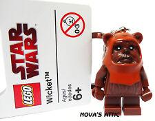 STAR WARS LEGO EWOK WICKET PORTACHIAVI FIGURE MINI NUOVO