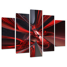 5 Piece Abstract Canvas Art Pictures Large Modern Red Wall Prints 5006