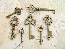70 Skeleton Keys - Vintage Style Antique Bronze Finish - 10 Sets of 7 Keys