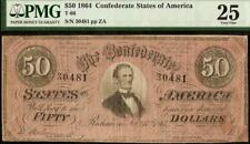 1864 $50 DOLLAR BILL CONFEDERATE STATES NOTE CIVIL WAR PAPER MONEY T66 PMG 25