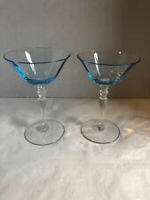 Set Of 2 Ice Blue Martini Glasses