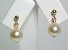 8x9mm AA++ quality golden Akoya saltwater pearl & 9 carat gold earrings