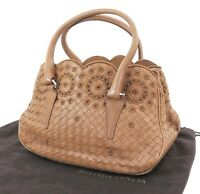 Auth BOTTEGA VENETA Brown Woven and Leather Tote Hand Bag Purse #31524