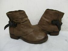 OTBT Custer Brown Leather Zip Biker Ankle Boots Womens Size 8.5 M