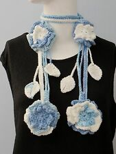 New Handmade Crochet Blue White Flower Scarf Necklace Lariat