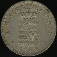 1853 F German States Saxony-Albertine Silver 2 Neu Groschen Coin |Pennies2Pounds